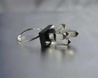Rough Crystal LEGO Ring with Sterling Silver Band
