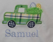 Boys Easter Shirt with Truck Applique
