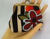 Handmade coin purse in bright decorator cotton