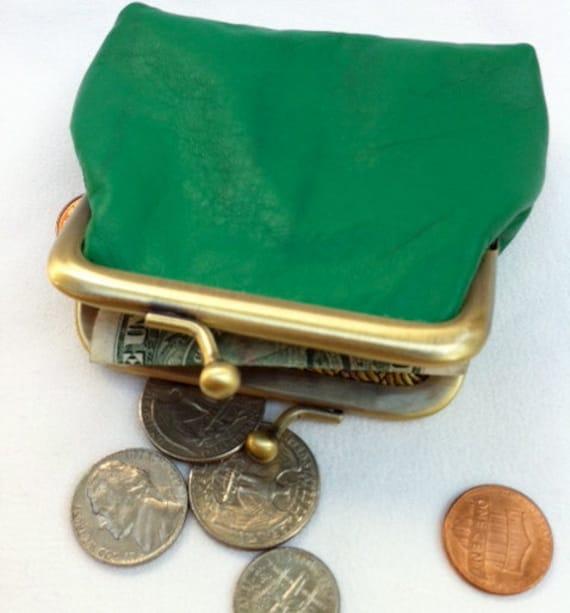 Irish green leather handmade coin purse with matte gold kiss lock frame.