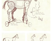 Horse of Troy, Sketch for Sculpture, Original illustration Artist Print Wall Art, Free Shipping in USA.