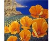 California Poppies, Big Sur,Ocean Pacific Coast.Flowers landscape, Hwy 1, original illustration Artist Print Wall Art, Free Shipping in USA.
