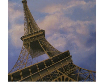 PARIS DISTORTION, Eiffel Tower Paris France,Blue cloudy Sky, Original illustration Artist Print Wall Art, Free Shipping in USA.