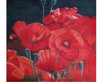 Bouquet Red Poppies, Blooming Flower Coquelicots, Original illustration Artist Print Wall Art, Free Shipping in USA.