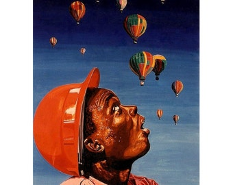 Hot Air Balloon Rain, Worker Job site helmet, Blue Orange,Original illustration artist Print Wall Art, Free Shipping in USA.