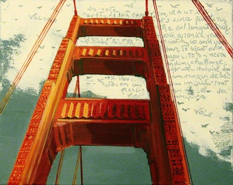 "Original Painting, Golden Gate Bridge Painting, San Francisco, The Head in the Clouds,Mixed media Writing, 16""x20"",  Free Shippind in USA."