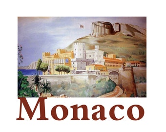 MONACO Principality Rock Castle Old City Mediterranean, Original Illustration Travel Poster Artist print Wall Art, Free Shipping in USA.