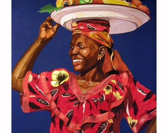 African Happy Mama Going to the Market, Africa,Original Artist Print Wall Art, Free Shipping in USA.