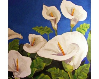 Calla Lilly, Garden, Close-up Bouquet White Flower,Original illustration artist Print Wall Art, Free Shipping in USA.