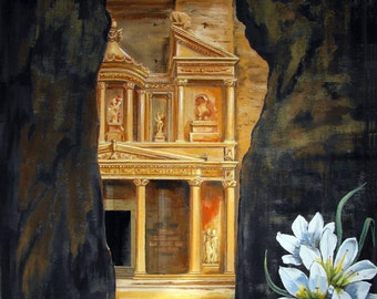 "Desert Flower Petra Jordan Middle east, Extra Large size Original Painting, 58""x58"", Free Shipping in USA."