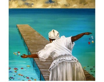 Bay of All Saints, Bahia de Todos os Santos, Brazil, Candomble, Ceremony, Turquoise Ocean, Illustration Art Print, Free shipping in USA.