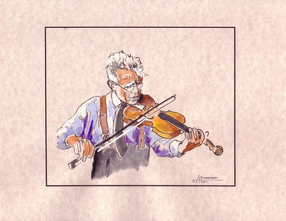 Musician Violinist. Old Man Original Watercolor on Parchment Paper, 8.5x11, Free shipping in USA.