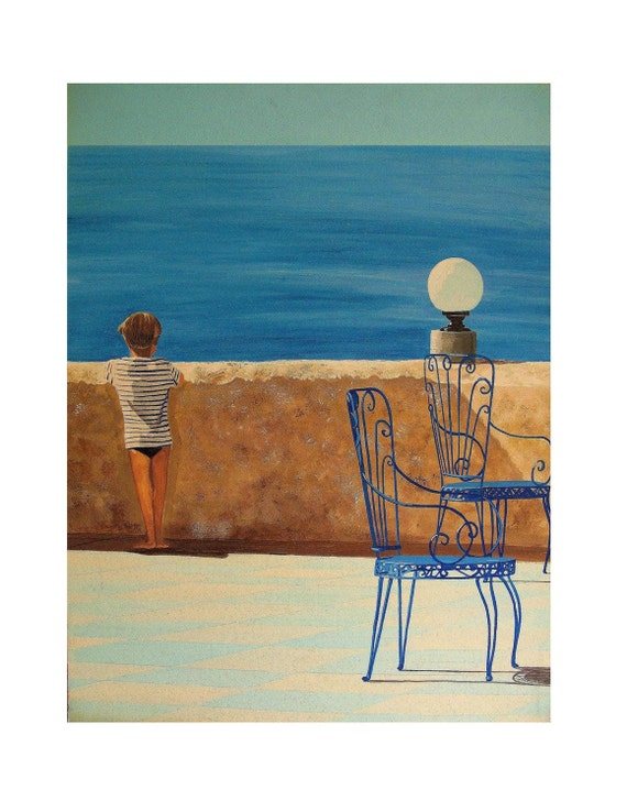 Mediterranean, Blue Thought,Sea View from Terrace, Blue Chairs,Little Boy,Original Illustration Artist Print Wall Art, Free Shipping in USA.