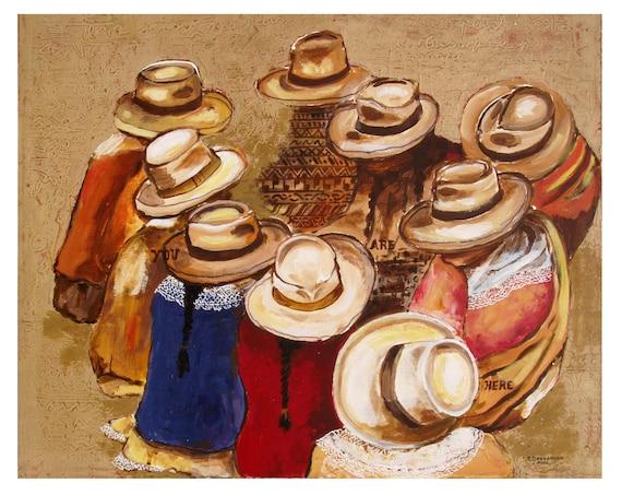 Panama Market, straw hat, Central America Trade, 9, Mixed Media Writing, Original illustration artist Print Wall Art, Free Shipping in USA.