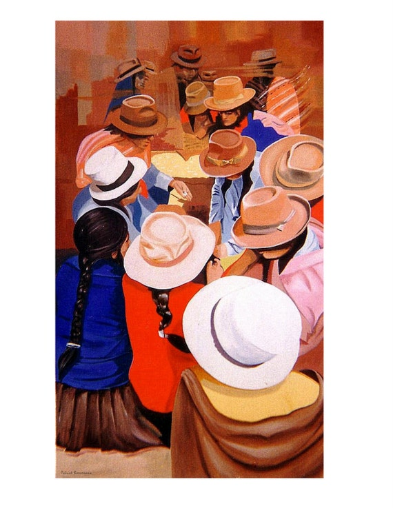 Hats, South America Market, Cuzco, Peru, Fabric, Original illustration Artist Print Wall Art, Free Shipping in USA.