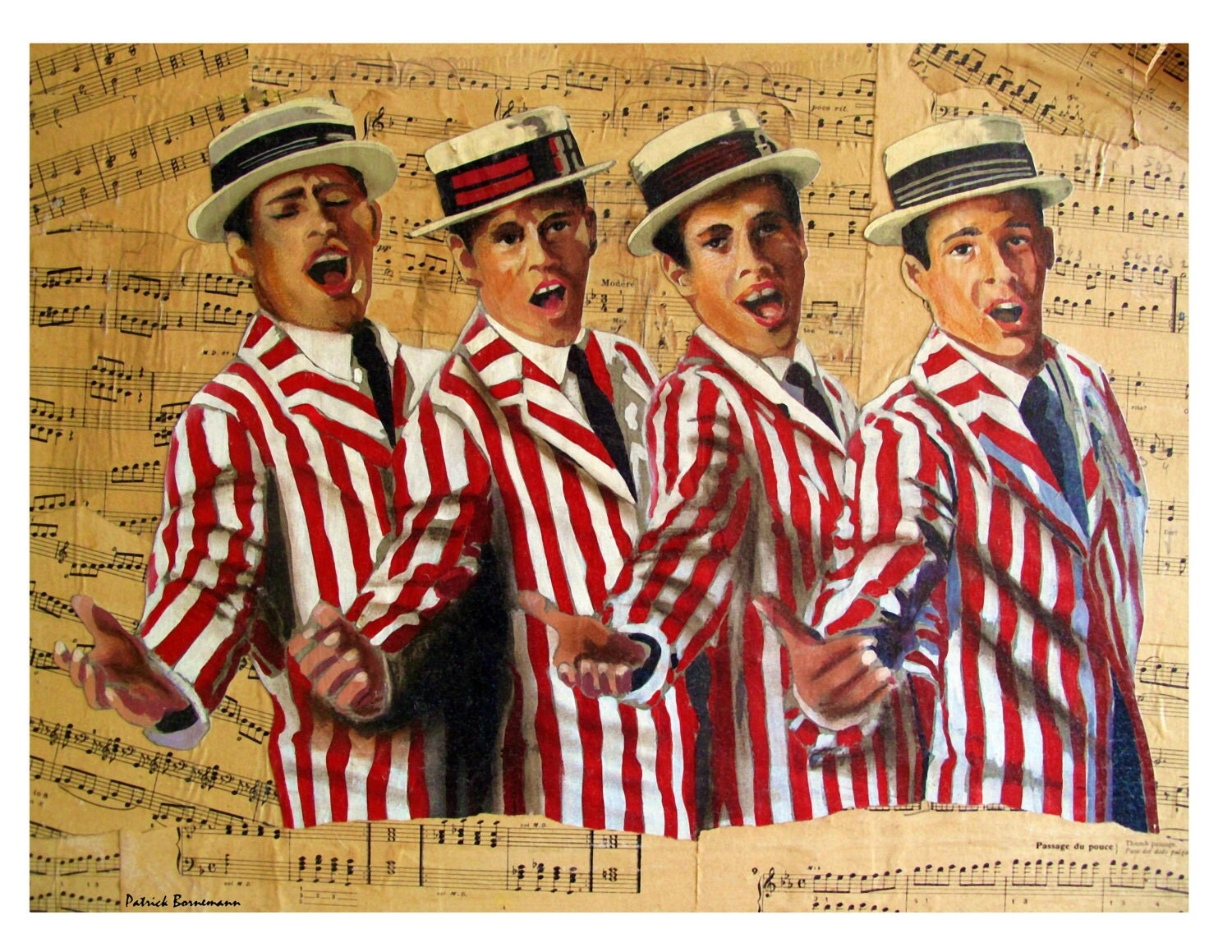 Dixieland Jazz Band Singers New Orleans Hats Music Sheets