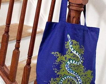 Milk Snake Tote Bag (4 Color on Royal Blue) Hand-Pulled Screenprint, Reptile Gift Snake Bag