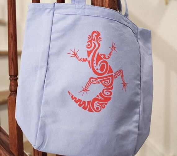 Leopard Gecko Tote Bag (Light blue & Pink) Hand-Pulled Screenprint, Reptile Gift Lizard Bag