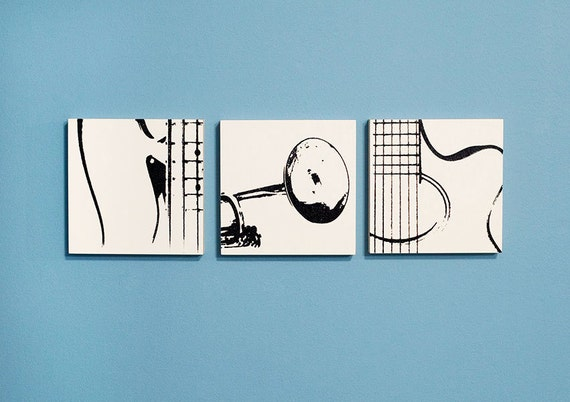 Music Wall Art Trio: Guitar, Trumpet, & Bass on Wood (6 x 6 inches each, Black and White) Musical Instrument Home Decor