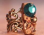 Steampunk Ring- Vintage Rectangle Watch Movement-  Swarovski Crystals