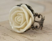 Cream Rose Flower Ring - Brass Handmade by Inspired by Elizabeth