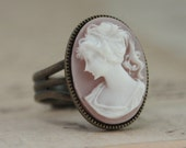 Cameo Ring Pink- Bridesmaids Gift Brass White Girl Face Bridesmaids Gift Handmade by Inspired by Elizabeth