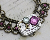 Steampunk Necklace - Steam Punk Jewelry - Vintage Wittnauer Watch Movement - Purple Amethyst Swarovski Crystals