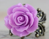Rose Ring Flower Rings Purple Lilac Lavender - Brass or Silver Bridesmaids Jewelry Gift Handmade by Inspired by Elizabeth