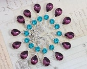 Bridesmaids Gift Peacock Wedding Earrings Purple Amethyst Teal Bridal Party Jewelry Silver 5 Pairs Bridesmaids Jewelry  - Clip ons avail