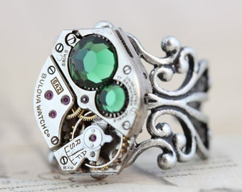 Unique Ring Steampunk Ring - Cocktail Ring Green Ring Watch Ring Steam Punk Jewelry Unique Gift Green Turmaline Swarovski Crystals Handmade
