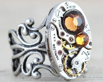 Topaz Ring Steampunk Ring Unique Ring Watch Ring Steam Punk Jewelry November Birthstone Ring Swarovski Crystal Oval Ring Vintage