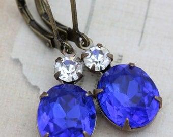 Sapphire Earrings Blue Crystal Earrings Bridesmaids Earrings Wedding Jewelry Vintage Earrings September Birthstone - Clip Ons Available