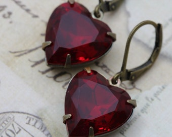 Red Heart Earrings For Her Valentines Gift Vintage Earrings Ruby Garnet Red Glass - Valentines Wedding Faceted - Bridesmaids Bridal Earrings