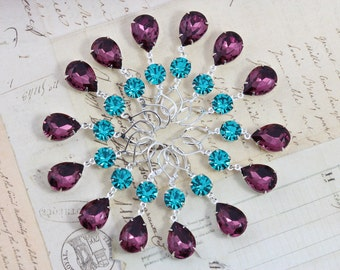 Earrings Purple Amethyst Teal Turquoise Bridal Party Gift Peacock Wedding 3 Pairs Bridesmaids Jewelry Turquoise - Clip ons avail