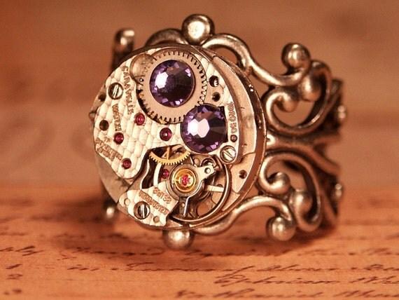 Steampunk Ring, Vintage Round Watch Movement, Tanzanite Purple Swarovski Crystals