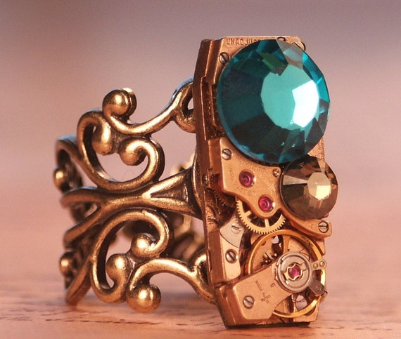 Steampunk Ring- Vintage Rectangle Watch Movement-  Swarovski Crystals