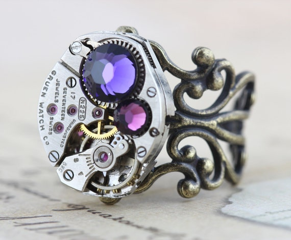 Steampunk Ring Steam Punk Jewelry - Vintage Gruen Watch Movement - Purple Amethyst - Handmade by Inspired by Elizabeth