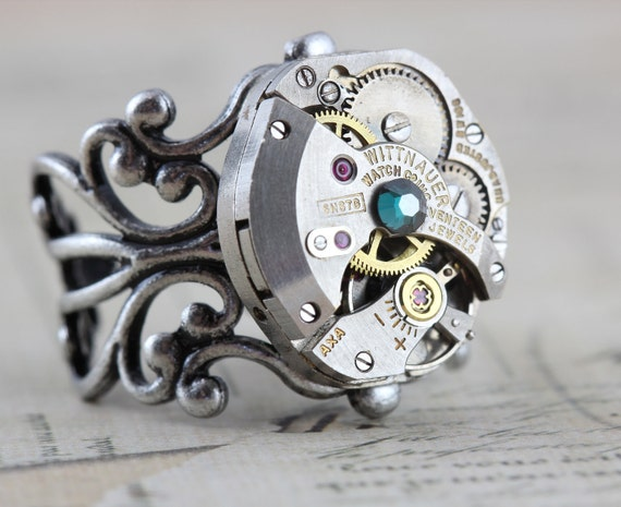 Steampunk Ring - Steam Punk Jewelry - Vintage Wittnauer Watch Movement - Clockwork Couture Green  - Handmade by Inspired by Elizabeth