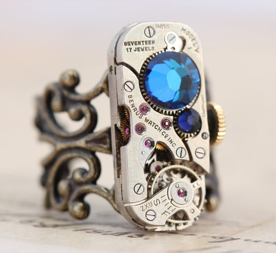 Steampunk Ring Steam Punk Jewelry Clockwork Ring - Vintage Watch - Capri Blue & Indigo