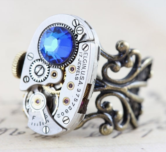 Steampunk Ring Jewelry - Blue Brass Silver - Steam punk - Elgin Clockwork - Swarovski Crystal
