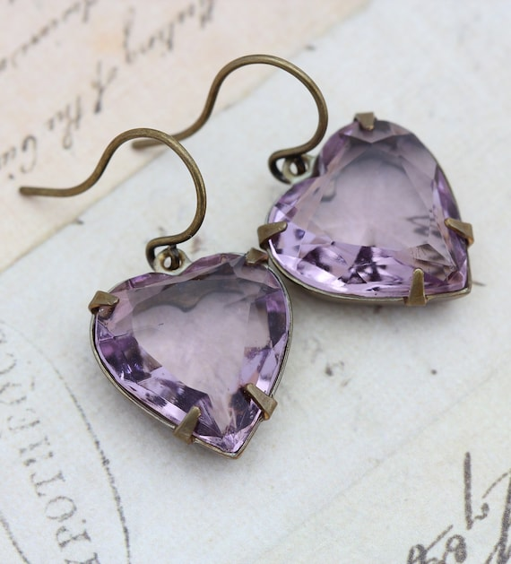 Vintage Amethyst Glass Earrings Hearts -  February lilac Faceted Vintage Glass Hearts - Estate Style Earrings - Wedding Bride