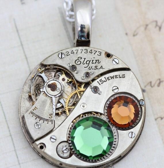 Steampunk Necklace - Steam Punk Jewelry - Torch SOLDERED Topaz Green Elgin Clockwork