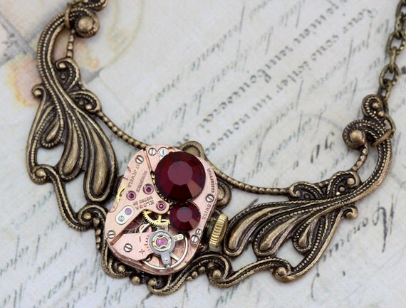 Steampunk Necklace Steam Punk Jewelry Red Garnet - Antique Clockwork Vintage Watch Movement - Handmade by Inspired by Elizabeth