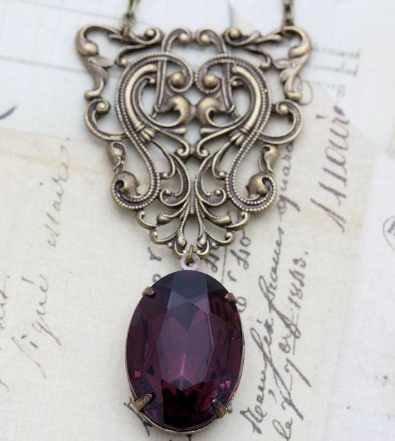 Vintage Amethyst Necklace Victorian Goth February Birthstone Jewel Necklace Vintage Glass Purple Jewel  - Steampunk by Inspired by Elizabeth