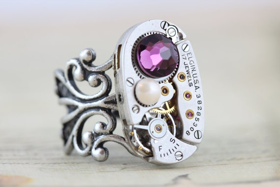 Steampunk Ring Steam Punk Jewelry - Vintage Clockwork Ring - Purple Amethyst Pearl Rings Swarovski Crystal