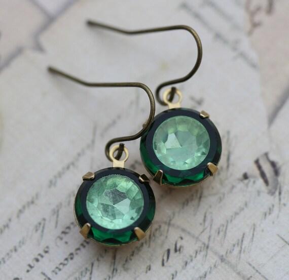 Vintage Earrings Peridot & Emerald Glass - Wedding Bridesmaids Bridal Earrings August May Birthstones