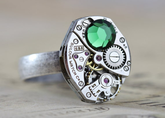 Steampunk Ring Jewelry Green Unisex Steam Punk 6 7 8 9 10 11 12