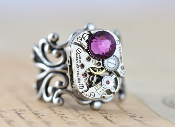 Birthstone Ring Steampunk Ring Custom Made Mothers Ring Watch Ring Personalized Jewelry Unique Ring Grandmothers Ring Silver Ring Filigree
