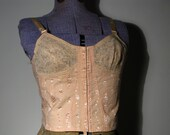 COUPON SALE 20% OFF 1930s Peach Jacquard and Lace Longline Bra or Corselette M L