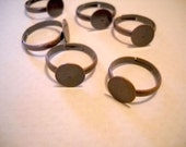 Adjustable Ring Blanks Antiqued Copper 19mm Diameter, 10mm Pad Blank Rings For Flowers 10 pieces